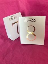 White Table Number Tent Style Wedding Birthday Table Decor Rose Gold Foil