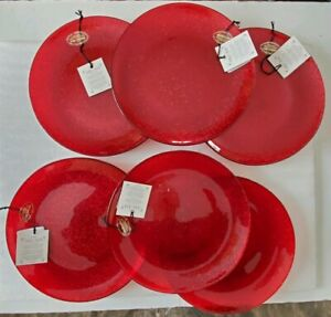 6 Akcam Turkey Pie Bread Plates Red Glitter Basketweave Holiday Christmas Party