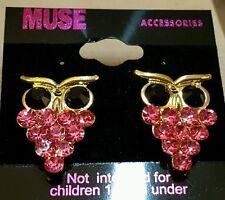 Fashion earrings jewelry pierced post rhinestone owl pink with gold tone