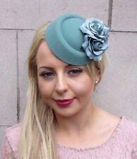 Teal Turquoise Green Rose Flower Pillbox Hat Fascinator Headpiece Races Vtg 4060