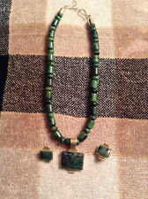 Ruby In Zoisite Sterling Silver Pendant And Earring Set