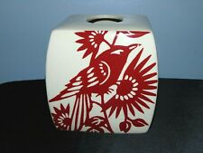 Porcelain Tissue Kleenex Holder Off White With Red Flower & Bird Scene