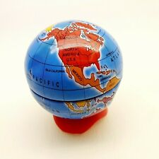 Vintage desktop item PENCIL SHARPENER plastic TIN WORLD GLOBE 2
