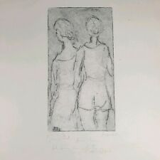 Benito Asquini Vintage Signed Etching 2 Female Figures Looking Away Women 1973