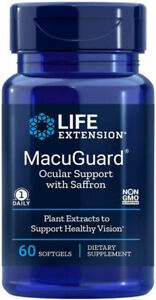 MACUGUARD  OCULAR SUPPORT with SAFFRON  EYE HEALTH 60 Softgels LIFE EXTENSION