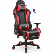 Gtracing Gaming Music Chair w/Footrest&Bluetooth Speakers Video Chair �Patented】