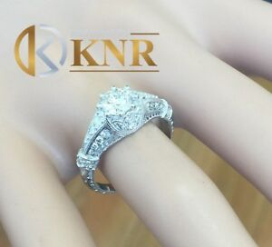 14k Solid White Gold Round Moissanite and Natural Diamond Engagement Ring 1.80ct
