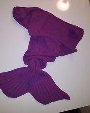 """Mermaid Tail Blanket for Girls Kids Knit Crochet Warm Soft Handmade 39"""" NEW"""