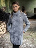 Women's Gray Cable Knit Side Zip Aran Coat Z4631 Merino Wool - Made in Ireland