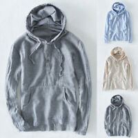 Men's Long Sleeve Striped Casual Hooded T Shirts Beach Holiday Blouse Tee Tops