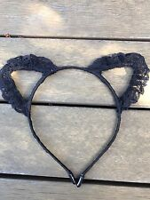 Women Girl Black Lace Trim Bunny Cat Ears Headband Hair Band  Costume Party Prop