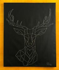 Original Kunstwerk,Klammern auf Leinwand (Modern, Abstract, Natur, Hirsch, Deer)