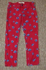 "Abercrombie & Fitch Red Floral Pants Juniors Girls Size 0 25"" Waist"