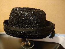 Vintage Women's 1950s Black Weave Hat w/ Tosseled Bow