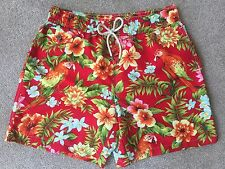 "POLO RALPH LAUREN RED & GREEN PARROT/FLORAL TRAVELER SWIM SHORTS SIZE M 30""-32"""