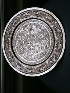 FASCINATING LARGE MIDDLE EASTERN SOLID SILVER HUNTING TRAY DISH LAHIJI MANNER