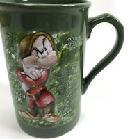 Grumpy Mug green 3D bad mood dude Disney 16 oz coffee Cup collectible