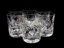 6 Quality Crystal Rocks Glasses Set Hand Made Design for Scotch Whiskey 11 Oz