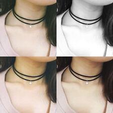 Terciopelo Negro multicapa Collar Gargantilla Cinta Gotico Goth Collar Con Cristal