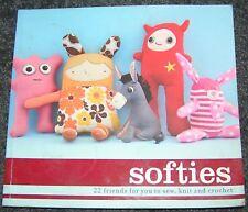 Softies Toy Pattern Book Sew Knit Crochet Doll Pirate Owl Kangaroo Angel Monkey