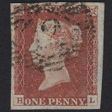 W18 GB QV 1841 1d RED-BROWN PLATE 61 SG8-B1(1) HL FU LONDON NO.12 4 MARGINS