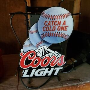 Coors Light - Lighted Window Baseball Sign - Catch A Cold One - Beer Bar