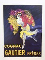 COGNAC GAUTIER WOMAN GRAPES BUNCH ALCOHOL FRENCH CAPPIELLO VINTAGE POSTER REPRO