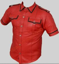 Men Genuine Real Red Sheep LEATHER Police Uniform Shirt BLUF Gay Black Piping