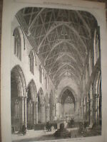 Interior St Andrew's Church Heckington Lincolnshire 1867 old print ref Y4
