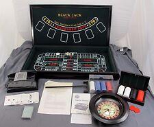Vegas Casino Trio Deluxe Wood Cabinet Craps Roulette & Blackjack + Card Shuffler