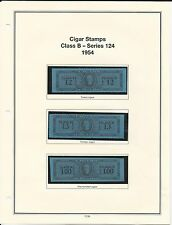 U. S. Revenue Cigar Stamps Class B & C - Series 124, 1954 PRISTINE (LN108)