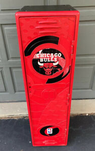 "Chicago Bulls NBA 48"" Tall Storage Locker By Suncast Black Red Vintage 1990s 90s"