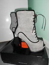 Karen Millen Grey High Heel Peep Toe Ankle/Mid-Calf Boots.