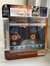 (2) Copper Fit Energy Compression Socks Easy On & Off, Men 9-12 Women 10-13 NEW