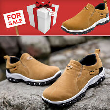 MENS RUNNING TRAINERS CASUAL LACELESS GYM WALKING SPORTS BROWN SHOES UK SIZE 8.5