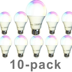 FEIT Smart Light Bulb 10-pack Color Changing Tunable White WiFi LED A800 RGBW