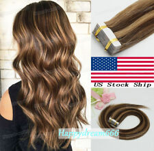 Tape in Remy Human Hair Extensions Balayage 4/27Medium Brown with Dark Blonde20""