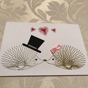Handmade Stitched Hedgehogs Hearts Wedding Blank Card