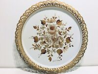 """VTG NASHCO Toleware Hand Painted 15"""" White Gold Floral Metal Serving Tray Signed"""