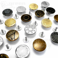 17mm Hammer On Denim Jeans Buttons brass based with tack alloy studs AH2