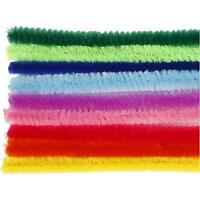 25 Assorted Chenille 10 Colours Pipe Cleaners Craft Accessories T:9 mm L:30 cm