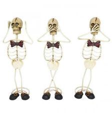 Three Wise Skeleton Ornament Statue Figurine Metal Sculpture 25cm Set/3