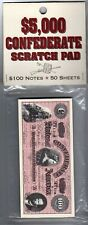 Confederate States of America $100 note scratch pad: 50 sheets