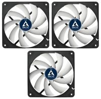 3 x Pack of Arctic Cooling F12 120mm 12cm PC Case Fan, 1350 RPM, 53CFM, 3 Pin