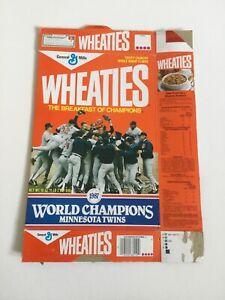 Vintage WHEATIES Box MINNESOTA TWINS 1987 World Series Champions Good Condition