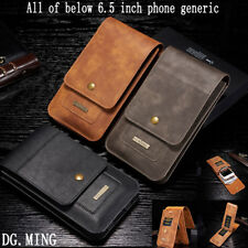 Universal Leather Case Card Pouch Bag Belt Clip Ring Holster For iPhone Samsung