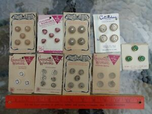 9 Cards of Unused Vintage German-US Zone Glass Sewing Buttons