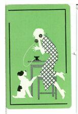 "Single Vintage ""Women on Phone with Dog"" Playing Card USPCC, USA, Green"