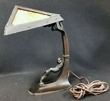 Original Antique Art Deco Bronze Slag Glass Lamp with Leopard