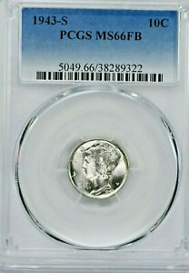 1943-S 10C Mercury Silver Dime PCGS MS66FB (SI:Y-9322) 99c NO RESERVE